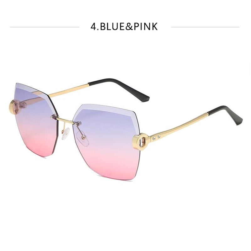 New Explosive Irregular Frameless Trimming Fashion Sunglasses Women Ins Street Photo Party UV400 Sunglasses Casual Wild Temperament Glasses