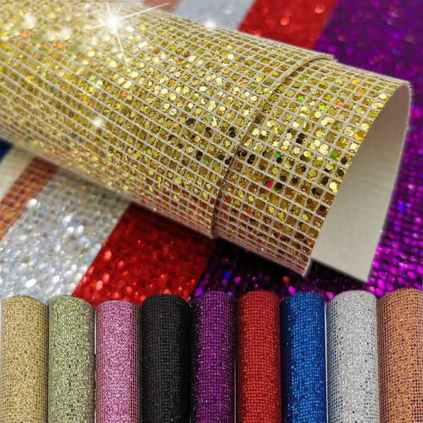 1PC 20x15cm PU Leather Fabric Shiny Sequins Sheets Glitter Patchwork Handmade Sewing Material DIY Accessories