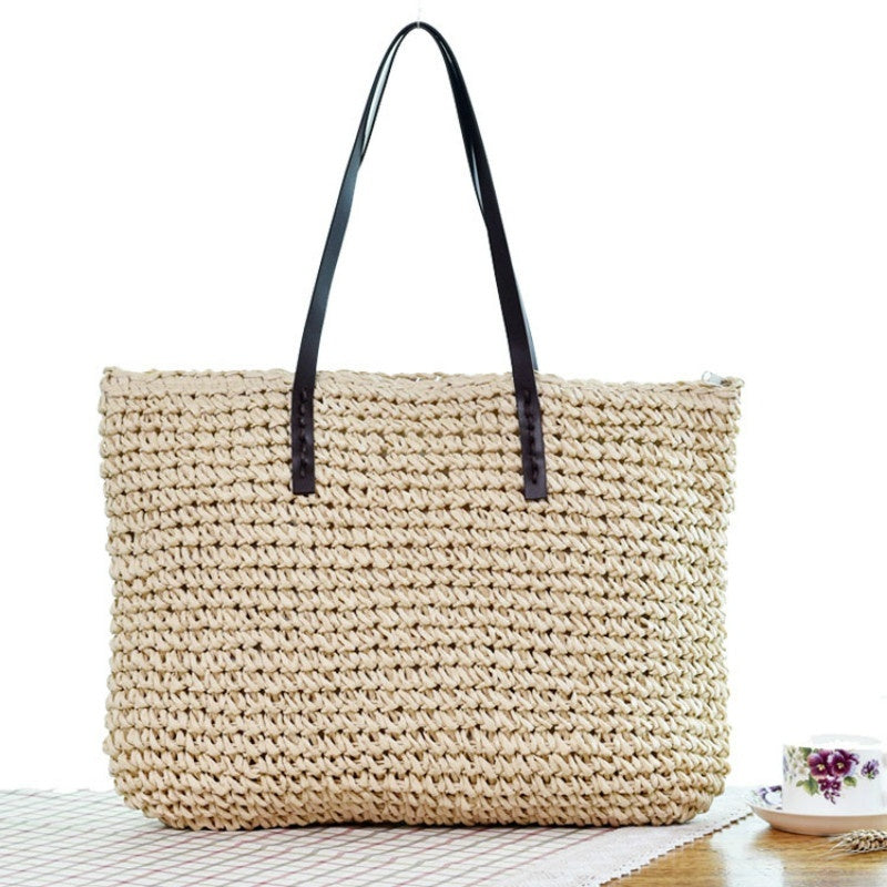 Women Handbag Summer Beach Bag Rattan Woven Handmade Knitted Straw Large Capacity Totes Women Shoulder Bag