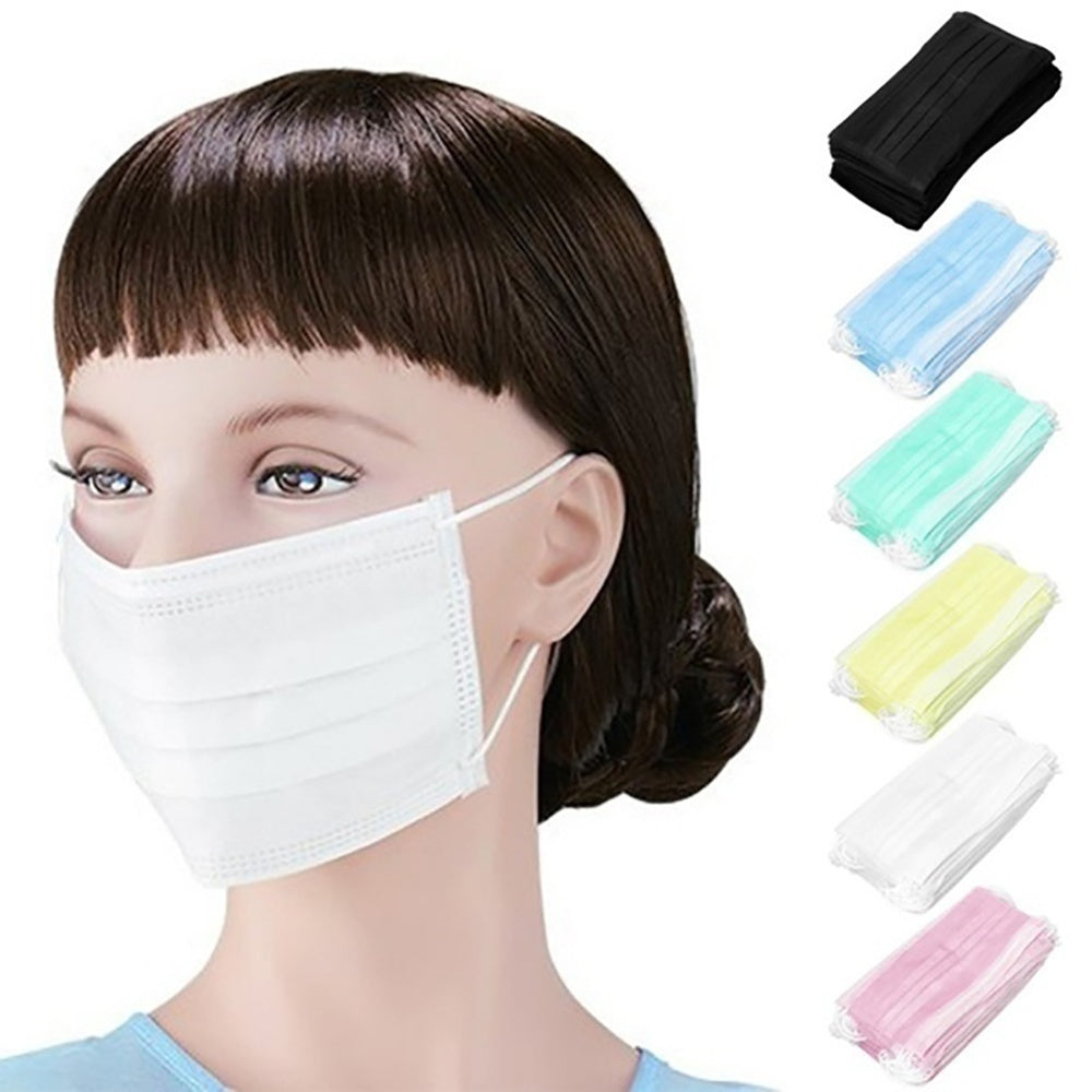 Disposable Sanitary Masks-Face Mask with Earloops Surgical Medical Face Masks 50/40/30/20/10/5/1PCS Hypoallergenic Protect Yourself Against Dust Pollen Allergens Flu 3-Ply Safety Face Masks(Blue,White)