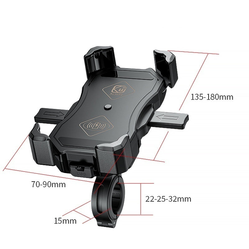 360 Degree Rotation Motorcycle Phone Holder 15W Wireless Smart Charger QC3.0 Wire Charging 2 in 1 Stand For iPhone Samsung