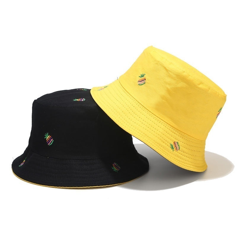 Double Sided Cactus Banana Pineapple Embroidery Outdoor Fashion Cotton Bucket Hat Sea Beach Fishing Hunting Caps Sun Hats