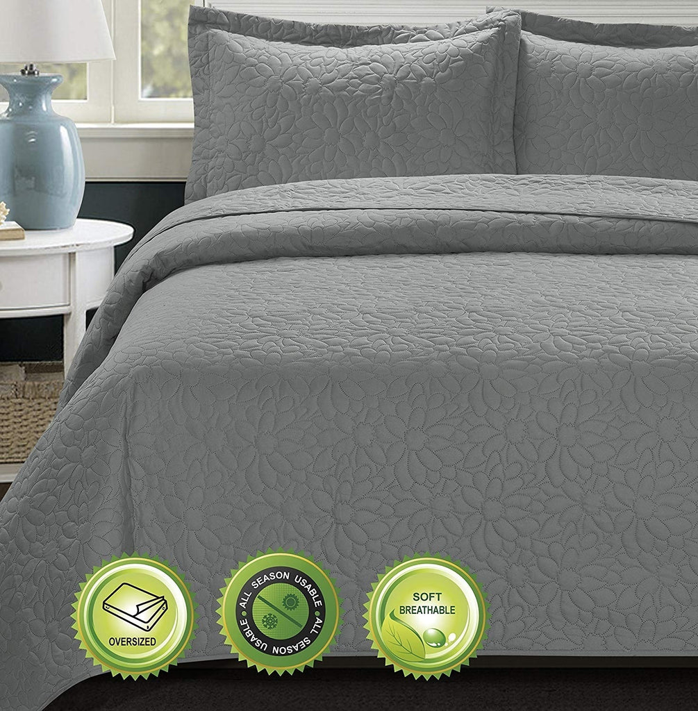 HIG 3 Piece TINOS Ultrasonic Embossed Bedspread Set -Oversized Coverlet Daisy Design in Queen / King Sizes 100x106in, 118x106in
