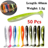 50Pcs/30Pcs/10Pcs/lot 60mm / 1.2g Fake Wobbler Fishing Lures Shad Worm Soft Baits Silicone Rubber Jig Head Lure Fishing Tackle