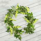2M Wisteria Artificial Flowers Vine Garland Wedding Arch Decoration Fake Plants Foliage Rattan Trailing Faux Flowers Ivy Wall