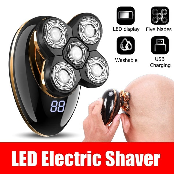 360¡ã 5D Electric Men Bald Shaver Razor Beard USB Rechargeable Cordless Hair Trimmer Clipper Groomer 5 Head