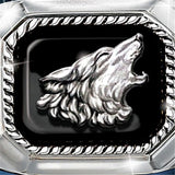 925 silver man's exquisite fashion art man's ring the call of wolf handmade pure silver ring raised relief wolf ring