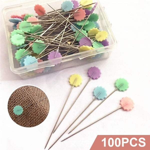 New 100Pcs Patchwork Craft Flower Head Pins Quilting Tool Sewing Accessories