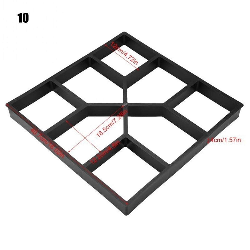 10 Types Garden Pavement Mold DIY Manually Paving Cement Concrete Brick Mould