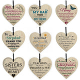 9 styles available Wooden heart-shaped sign wood chip print Letters plaque love gift Christmas tree decorations pendant