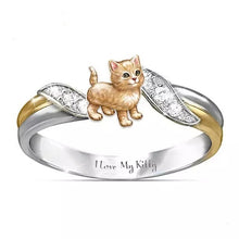 Load image into Gallery viewer, \I Love My Kitty\ Exquisite and Fashion 925 Sterling Silver Jewelry Two Tone 18k Gold Romance Wedding Band Charming White Sapphire Diamond Rings Cute Orange Cats Ring Proposal Anniversary Engagement Gift Rings Size 5-11