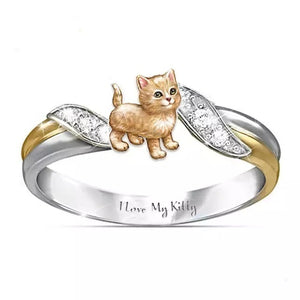 \I Love My Kitty\ Exquisite and Fashion 925 Sterling Silver Jewelry Two Tone 18k Gold Romance Wedding Band Charming White Sapphire Diamond Rings Cute Orange Cats Ring Proposal Anniversary Engagement Gift Rings Size 5-11
