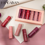HANDAIYAN 6 Colors 6 Pcs/set Matte Lipstick Set Waterproof Long Lasting Lip Gloss Nude Velvet Pigment Matte Lip Makeup