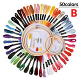 50/100 Colors Skeins Embroidery Pen Needle Set Thread Punch Stitching Knitting Kit Women Mom DIY Sewing Accessories With Tweezer