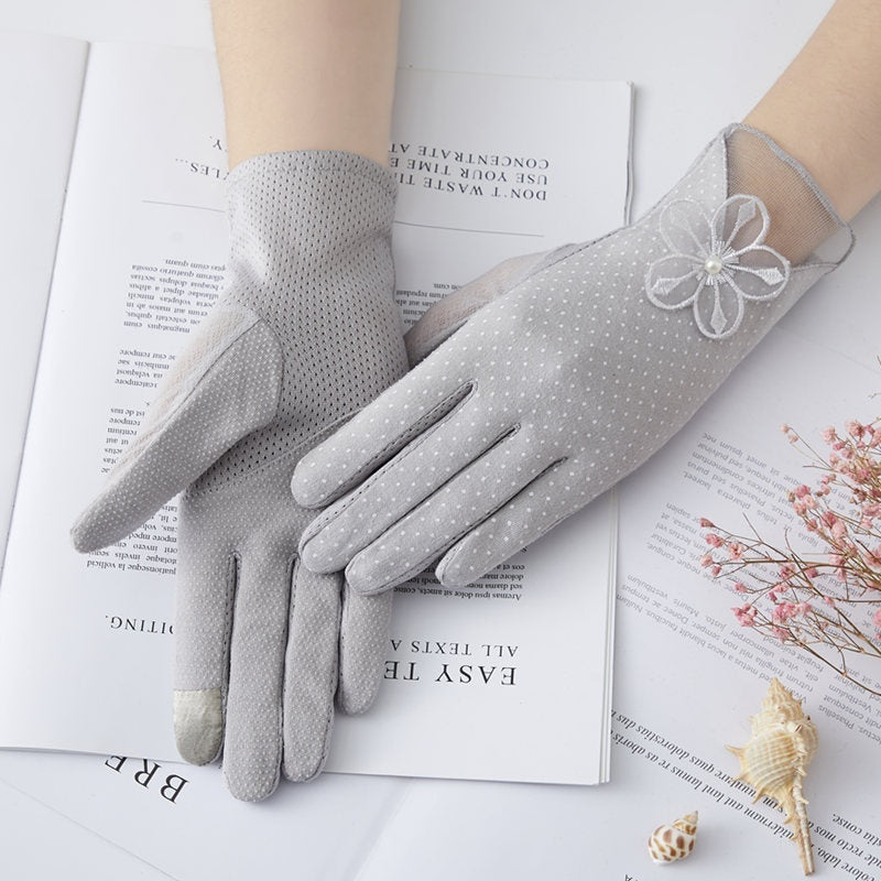 Women's Thin Summer Non-slip Touch Screen Short Cotton Pure UV Protection Stretch Sun Protection Gloves