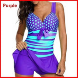 Ladies Fashion Wide Strap Polka Dot Swimdress and Short