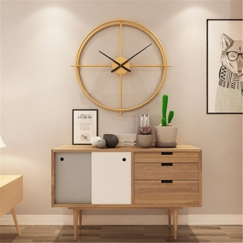 Creative Simple Nordic Style Round Large Modern Double Ring Wall Clock Home Bedroom Bar Hotel Decor Mute Clock