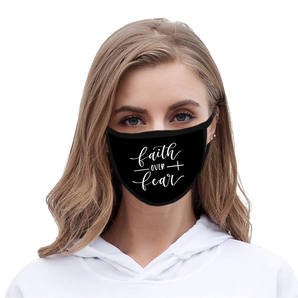 Women's Fashion Accessories Faith Blessed Printed Unisex Mask Outdoors Dustproof Cotton Black Face Masks Mouth Mask Christian Blessed Faith Over Fear Cross Print Mask Half Face Mouth Muffle Masks