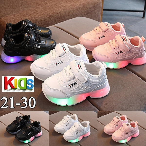 2020 New Quality Kids Shoes Cute LED Shoes Girls Princess Shoes Kids Girls Toddler Girls Luminous Sport Shoes
