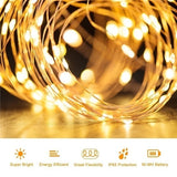 10/30/50/100/150/200LEDs 1/3/5/10/15/20M Copper Wire String Lights USB/Solar Power Fairy Light 8 Modes IP65 Waterproof Indoor Outdoor Christmas Decoration Lighting for Home, Garden, Party, Path, Bedroom, Wedding, DIY Decoration