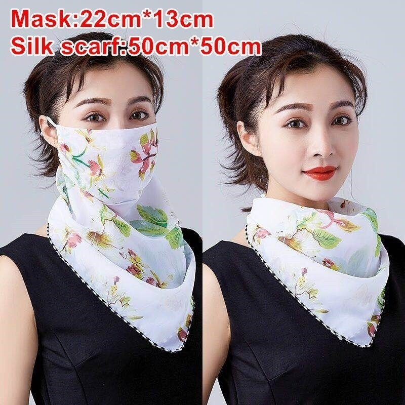 Women Floral Mouth Mask Light Face Mask Scarf Sunscreen Mask Outdoor Driving Masks Protective Scarf