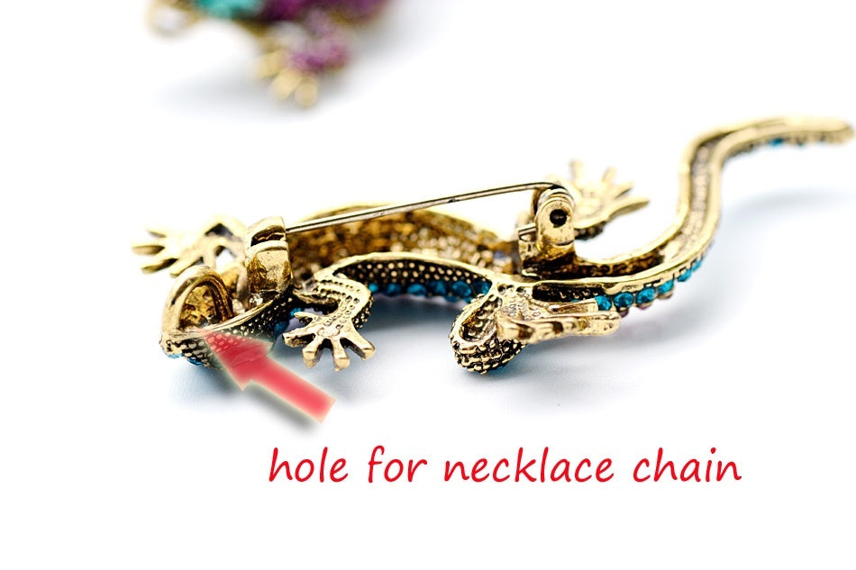 Lizard Rhinestone Brooch Pin Women Geckos Animal Pins and Brooches Clothes Jewelry Vintage Metal Brosch