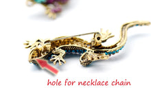 Load image into Gallery viewer, Lizard Rhinestone Brooch Pin Women Geckos Animal Pins and Brooches Clothes Jewelry Vintage Metal Brosch