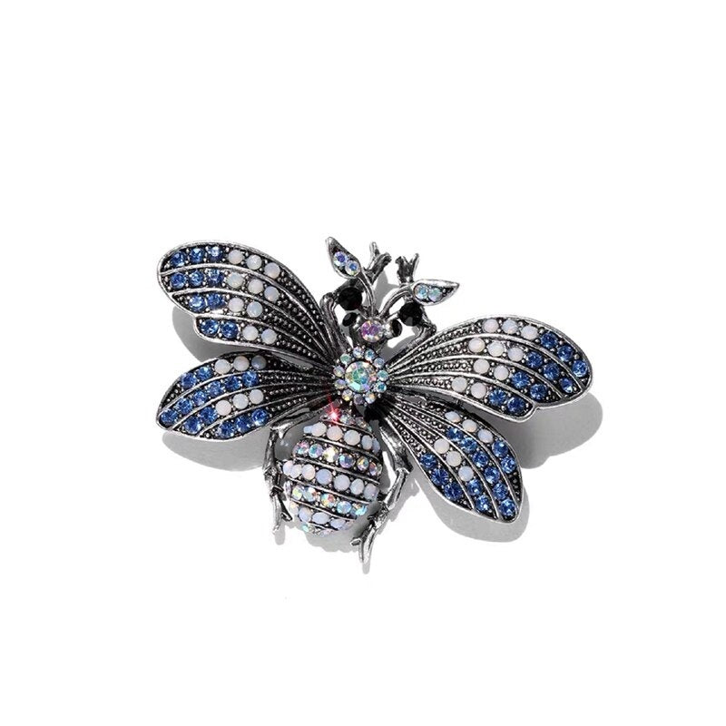 Rhinestone Bee Brooch Insect Brooches For Women Men Vintage Metal Pin Scarf Clip Clothes Accessories