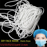 5.5/33/55/111 yard   DIY Face Mask Elastic Rope White Round Elastic Rope Sewing Supplies