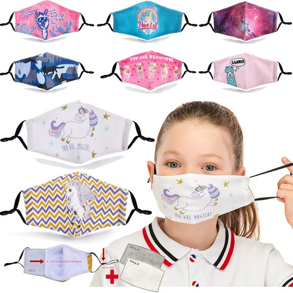 Washable Reusable Children Mask Protective with 2 PM2.5 Filters Mouth Mask 3D Cartoon Unicorn Flamingo Print Anti Dust Face Mask Bacteria Proof Flu Mask Kids Mask