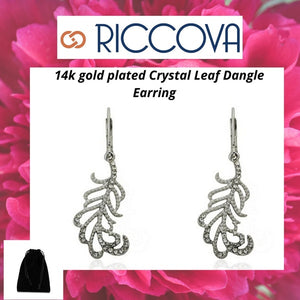 Riccova Country Chic Rhodium-Plated Crystal Leaf Dangle Earring/ Base Metal. Women's