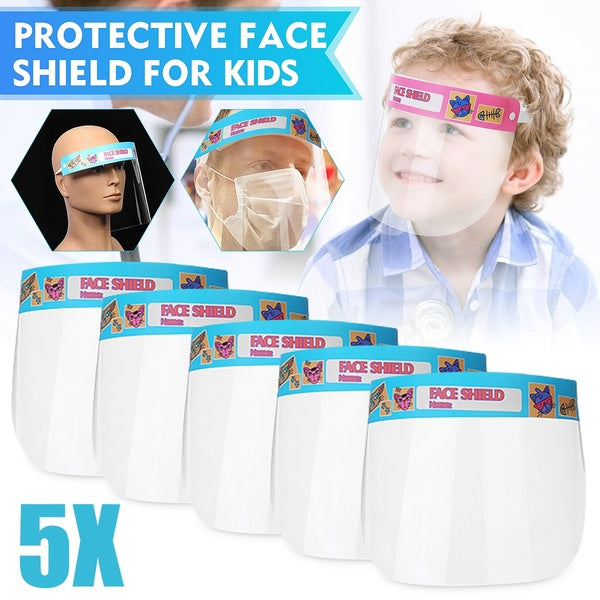 1/3/5x Transparent Adjustable Hat-Mounte Protective Full Face Shield Anti-fog Visor Anti-spittle Safety Guards For Kids