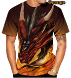 3D Red Dragon Fly Printed T Shirts