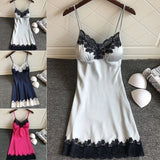 Simulation Silk Vest Pajamas with Lace Sexy Strap Fashion Nightdress and Home Dress