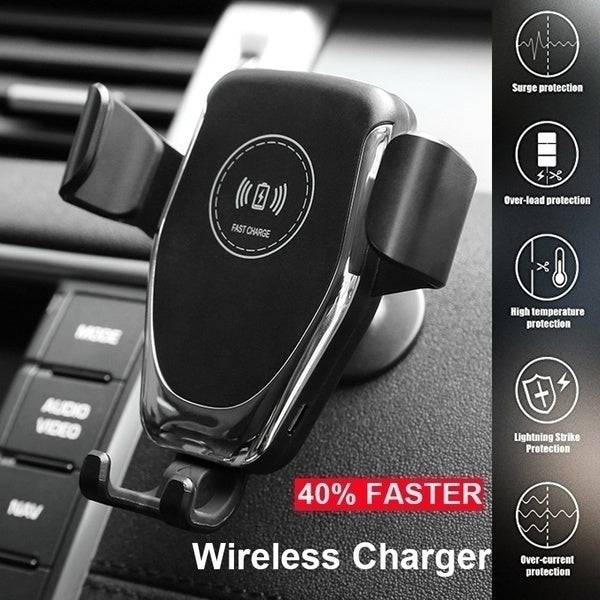 Qi Wireless Charger Car Phone Holder Air Outlet Stand Charger Fast 10W for Apple Iphone Samsung Huawei Xiaomi and ALL QI-Standard Smartphones