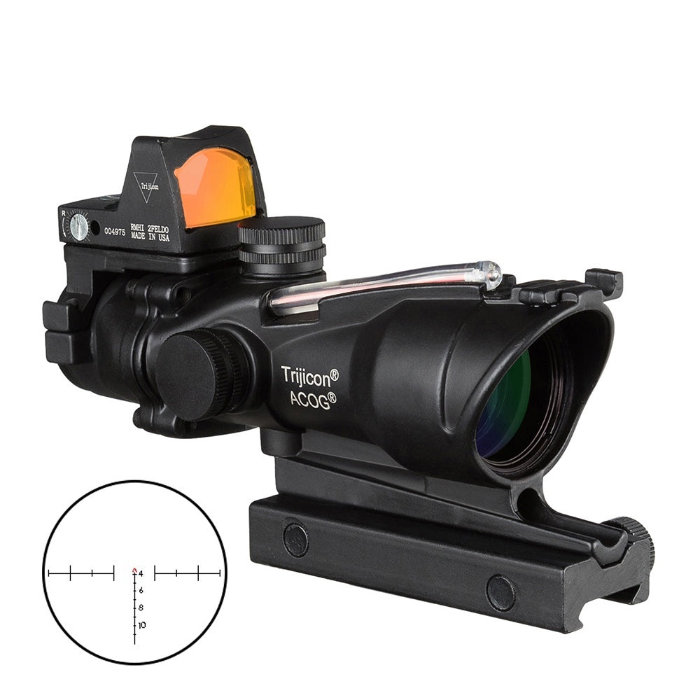 Trijicon Acog 4x32 Optic Scope Riflescope Red Cahevron Reticle Fiber Green Illuminated Optic Sight With Rmr Mini Red Dot Sight