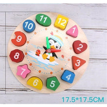 Load image into Gallery viewer, Montessori Cartoon Animal Educational Wooden Beaded Geometry Digital Clock Puzzles Gadgets Matching Clock Toy For Children