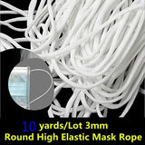 10 yards/Lot 3mm Round High Elastic Mask Rope Sewing Elastic Band Spandex Round Elastic Oil Core Rope DIY Mask Making