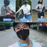Cycling Face Mask Active Carbon Filter Mask Sports RunningBicycle Breathable Dustproof Anit-fog Protective Mask