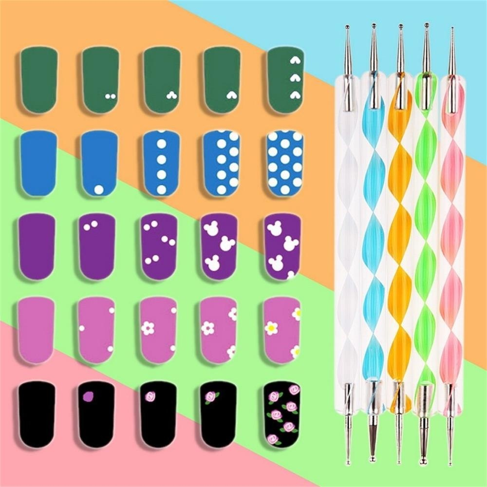 20pcs Hot Dotting Pen Crystal Handle Nail Extension UV Gel Nail Brush Gradient Manicure Acrylic Brushes Liner Painting Pen