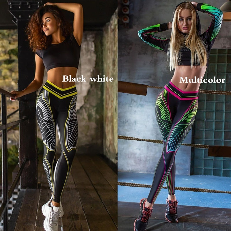 Fashion Women's Slim Printed Yoga Sport Leggings High Waist Elastic Exercise & Fitness Pant Gym Tights