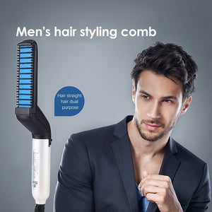 Latest Fashion Men Quick Beard Straightener Styler Hair Comb Multifunctional Hair Curling Curler Show Cap Tool Electric Hair Styler for Women Hair Tools