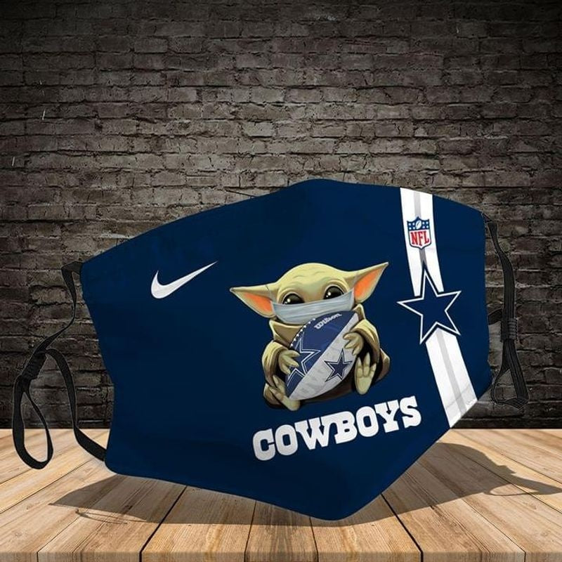 Love Dallas Cowboys Baby Yoda Face Covering 3-Layer Cotton Bacteria Inproof All Over Print 1-10 Pcs