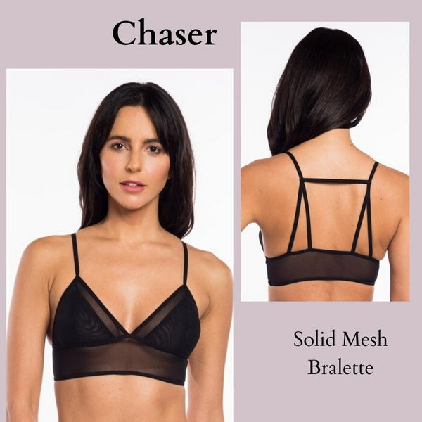 CHASER SOLID TRIANGLE MESH STRAPPY BACK BRALETTE