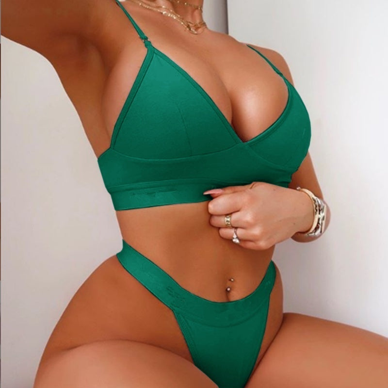 6 Colors Women Sexy Lingerie Set Bra+panties Solid Color V-neck Spghetti Strap Bra Set Cozy Underwear Bikini Set Beachwear Bathing Suit Ladies Swimsuit Fitness Bra Plus Size
