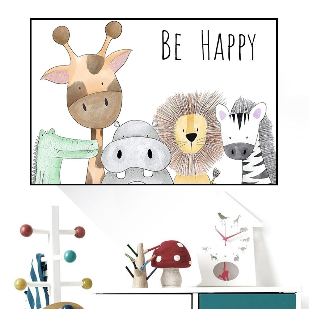 Be Happy Nursery Room Anime Printted Wall Art Painting on Canvas Animals Hippo Giraffe Poster Home Decor for Kids Baby Room