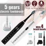 Sonic Electric Toothbrush, 5 Modes Oral Electronic Power Toothbrushes,4 Free Replacement Heads Included as Gifts Ideal for Adult Children and Couples Use USB Fast Charging Waterproof Toothbrush