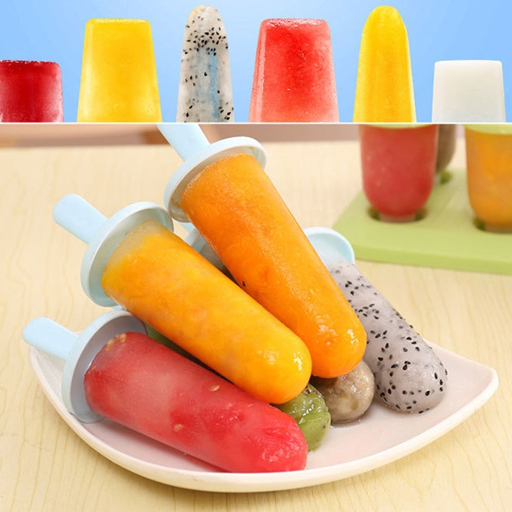 1Set 6pcs Pack Summer Ice Cream Making Mold Home Kitchen Popsicle DIY Mould Frozen Yogurt Icebox with Tray