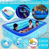 120/130/150/210cm Children Bathing Tub Baby Home Use Paddling Pool Inflatable Square Swimming Pool Kids Inflatable Pool Splashing Thickens Indoor Bathing Pool