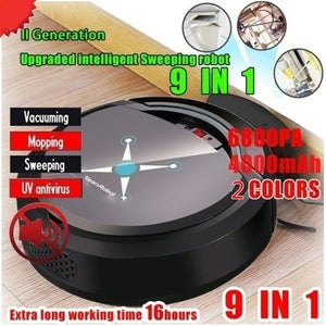 2020 New 9-in-1 Rechargeable Intelligent Sweeping Robot 6800PA Strong Suction Smart Floor Cleaner Automatic Sweeping Robot Dry and Wet Sweeping Vacuum Cleaner Powerful Vacuum Cleaner Cleaner for Home Office, Help You Clean Up Garbage and Dirt At Any Time